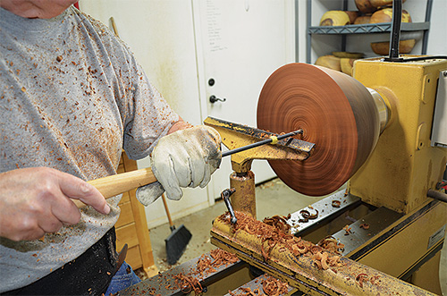 Drilling the depth of the woodturning