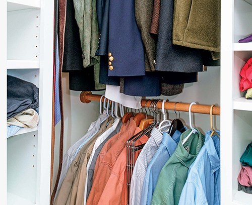 A closet rod you turn yourself will bear up much better under the weight of clothing than the standard rod you purchase from a box store.