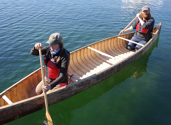 Lindy takes his birch canoe for a paddle.