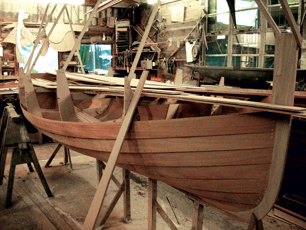 An as-yet unfinished clinker-built dinghy of Fijian mahogany was Peter Freebody's last project.