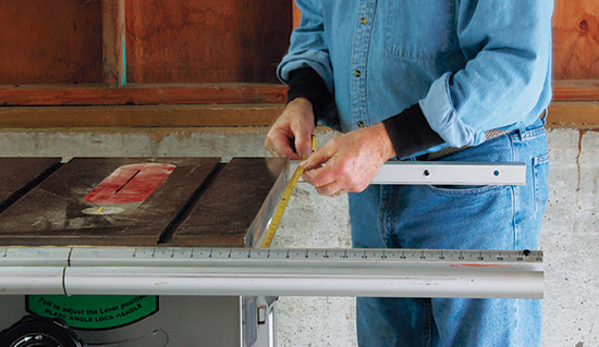 Measure the distance between your saw's fence rails first before cutting any of the project parts to size. The table frame must fit snugly.