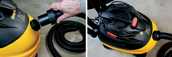 The Shop Vac 5873410 uses a screw connector for attaching the swivel end of the hose (left photo). Its 12' hose provides exceptional reach for cleaning without having to move the vacuum. The Shop Vac's jellybean shape makes it easy to maneuver and carry. It also features a convenient top-mounted cord wrap and large rocker-style power switch (right photo).