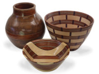 A trio of scroll sawn bowls