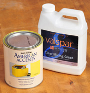 Mix clear waterbased glaze base, right, with latex paint to make a custom color glaze.